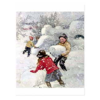 children playing in snow postcard