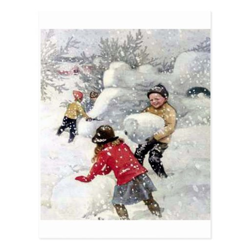 children playing in snow postcards