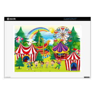"Children playing in the circus 15"" laptop decals"