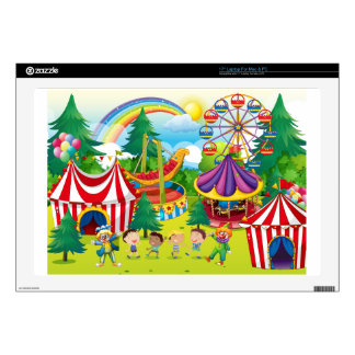 Children playing in the circus laptop skins