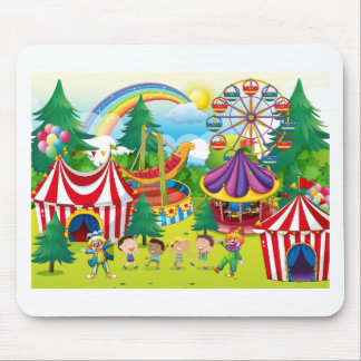 Children playing in the circus mouse pad