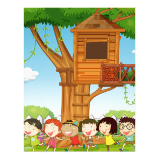 Children playing in the garden letterhead