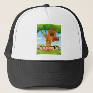 Children playing in the garden trucker hat