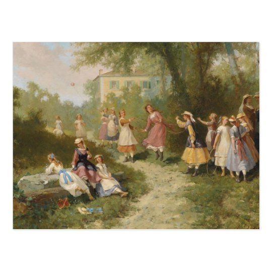 Children playing in the garden Vintage Painting  P Postcard