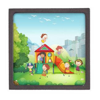 Children playing in the playground premium jewelry box