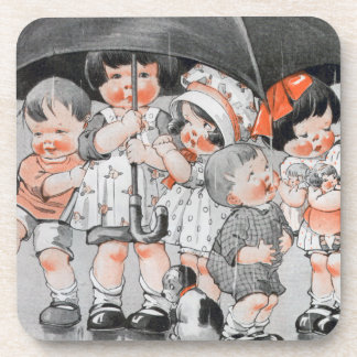 Children Playing in the Rain Holding Umbrellas Drink Coaster