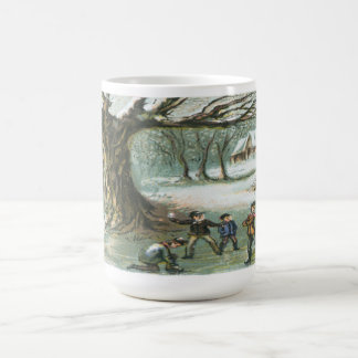 Children playing in the snow mug