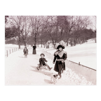 Children playing in the snow postcard