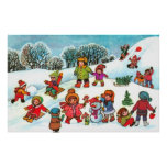 Children playing in the snow poster