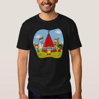 Children playing indians by the teepee t shirt