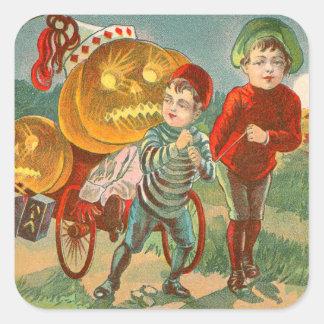 Children Playing Jack O Lantern Pumpkin Full Moon Square Sticker