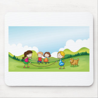 Children playing jumping rope mouse pad