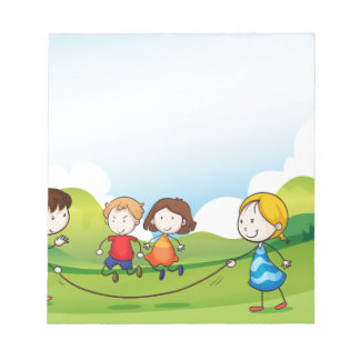 Children playing jumping rope memo notepads