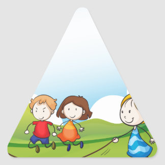 Children playing jumping rope triangle sticker
