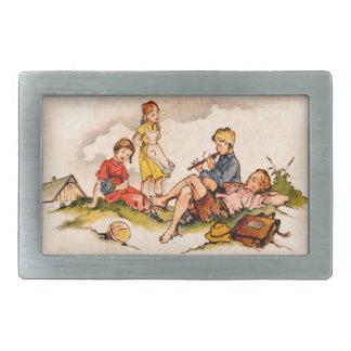 Children Playing Music Antique Watercolor Girls Belt Buckles