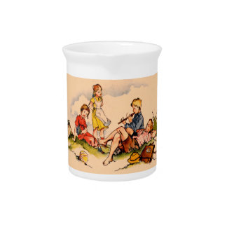 Children Playing Music Antique Watercolor Girls Pitcher
