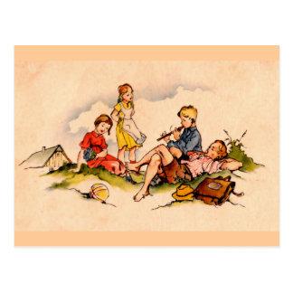 Children Playing Music Antique Watercolor Girls Postcard