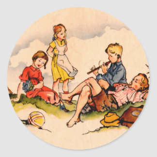 Children Playing Music Antique Watercolor Girls Round Stickers