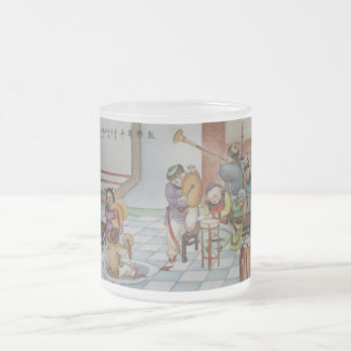 Children playing musical instruments frosted glass coffee mug
