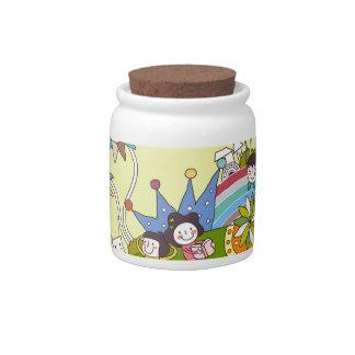 Children Playing on a Leaf Candy Jar