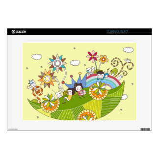 """Children Playing on a Leaf Decals For 15"""" Laptops"""