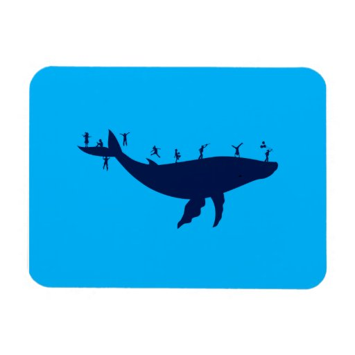 Children Playing On A Whale Rectangular Photo Magnet