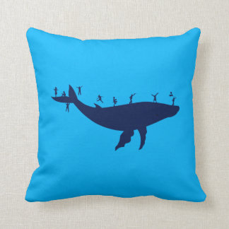 Children Playing On A Whale Throw Pillow