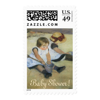 Children Playing on Beach by Cassatt, Baby Shower Postage