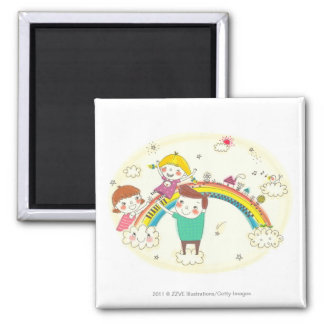 Children playing on rainbow magnet