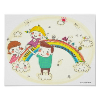 Children playing on rainbow poster