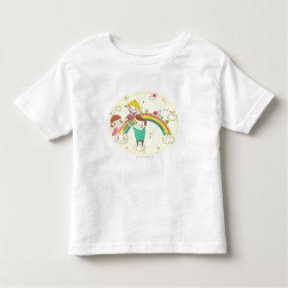 Children playing on rainbow tee shirt
