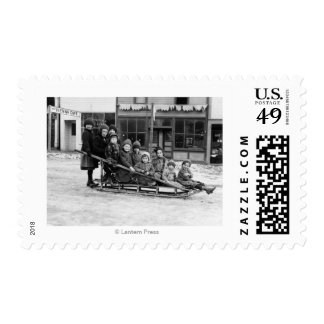 Children Playing on Sleigh in Seward Postage Stamps