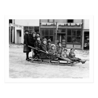 Children Playing on Sleigh in Seward Post Card