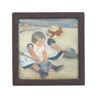 Children Playing on the Beach, 1884 Keepsake Box