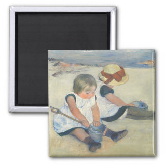 Children Playing on the Beach, 1884 2 Inch Square Magnet