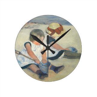 Children Playing on the Beach, 1884 Round Clock