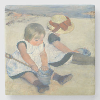 Children Playing on the Beach, 1884 Stone Coaster