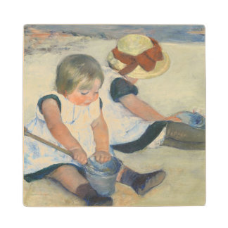 Children Playing on the Beach, 1884 Wood Coaster