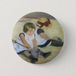 Children Playing on the Beach by Mary Cassatt Button