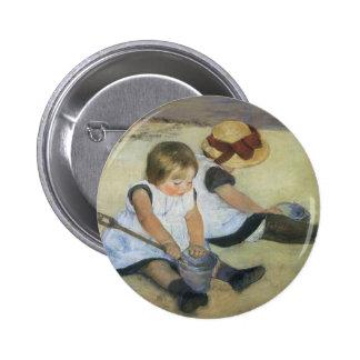 Children Playing on the Beach by Mary Cassatt 2 Inch Round Button