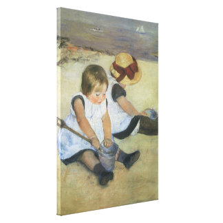 Children Playing on the Beach by Mary Cassatt Stretched Canvas Print