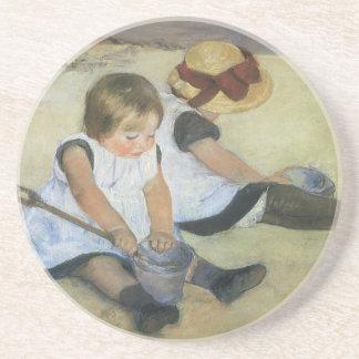 Children Playing on the Beach by Mary Cassatt Drink Coaster