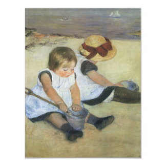 Children Playing on the Beach by Mary Cassatt 4.25x5.5 Paper Invitation Card