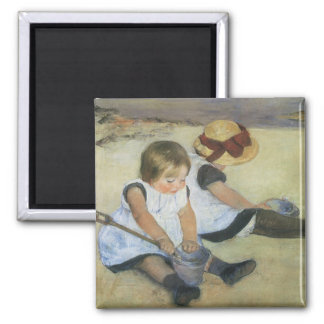 Children Playing on the Beach by Mary Cassatt 2 Inch Square Magnet