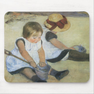 Children Playing on the Beach by Mary Cassatt Mouse Pad