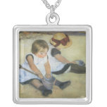 Children Playing on the Beach by Mary Cassatt Square Pendant Necklace