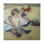 Children Playing on the Beach by Mary Cassatt Small Square Tile