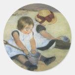 Children Playing on the Beach by Mary Cassatt Classic Round Sticker