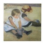 Children Playing on the Beach by Mary Cassatt Ceramic Tiles