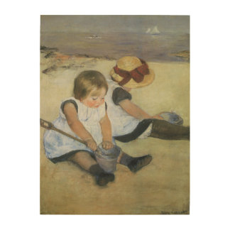 Children Playing on the Beach by Mary Cassatt Wood Canvases